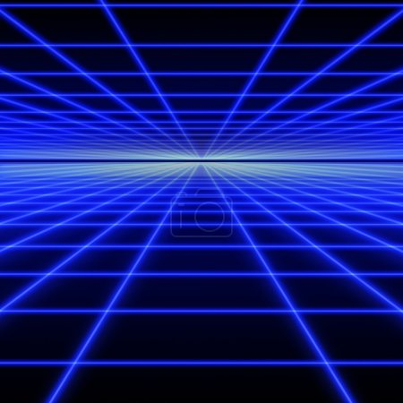 Perspective grid of blue luminous rays on black ba...
