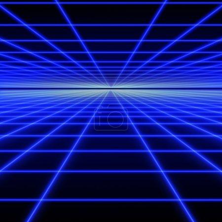 Photo pour Grille perspective de rayons lumineux bleus sur fond noir - image libre de droit