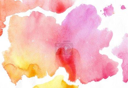 Photo pour Taches roses, jaunes, aquarelles sur fond blanc - image libre de droit