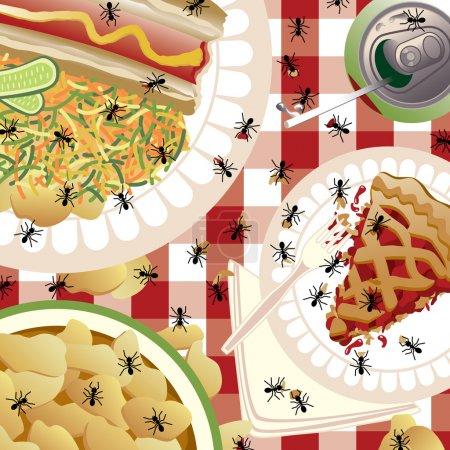 Illustration pour Illustration d'un pique-nique envahi par des fourmis. La nourriture est groupée et sur des couches séparées pour faciliter l'édition . - image libre de droit