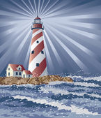 Illustration of a lighthouse illuminating the night