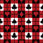 Seamless vector plaid pattern with the four playing card suits 12-inch repeat