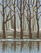 Vector illustration of trees reflected in water in the Winter