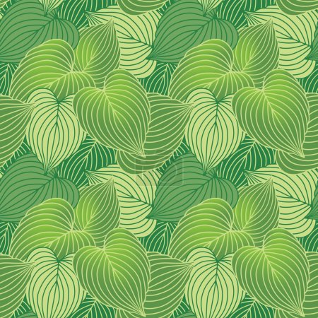 Illustration for Vector seamless pattern of Hosta plants referenced from my own photos. - Royalty Free Image