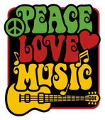Retro-style design of Peace Love and Music with peace symbol heart musical notes and guitar in Rasta colors
