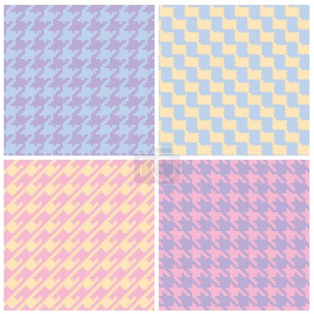 Collection of four seamless houndstooth patterns i...