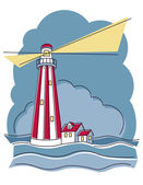 Vector illustration of a red and white striped lighthouse