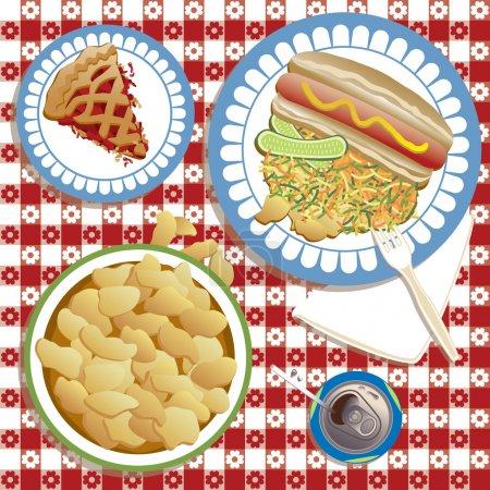 Illustration pour Illustration d'un pique-nique ou d'un barbecue américain typique avec hot dog et pain, cornichons, salade de chou, croustilles, soda et tarte . - image libre de droit