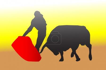 Matador and bulls silhouette