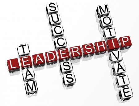Photo for 3D Leadership Crossword text on white background - Royalty Free Image