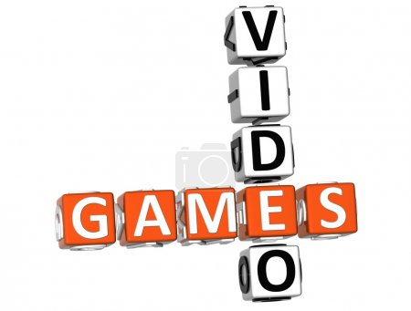 Photo for 3D Video Games Crossword on white background - Royalty Free Image