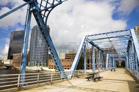 Blue bridge in Grand Rapids, Michigan, USA....