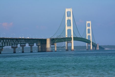 Walking Mackinac Bridge - Michigan, USA. Bridge op...
