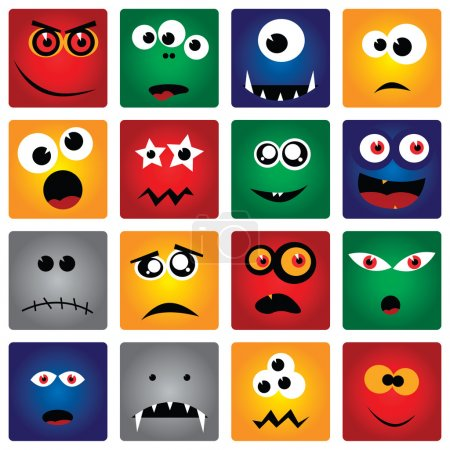 Illustration for Vector set of square monsters - Royalty Free Image