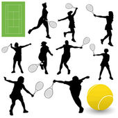 Vector set of tennis players