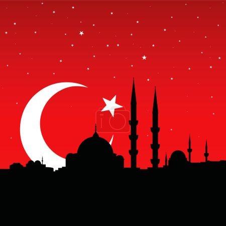 Illustration pour Paysage urbain vectoriel d'istanbul isolé sur le drapeau turc - image libre de droit