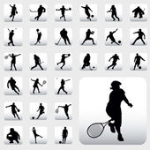 Vector set of various sport silhouettes