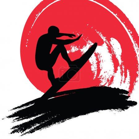 Illustration for Vector illustration of a surfer - Royalty Free Image