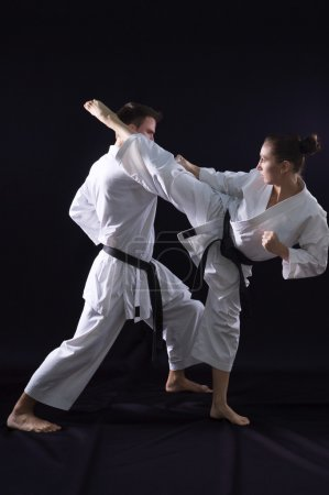 Fighting karate couple