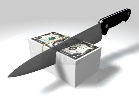Photo pour Un couteau 3D coupant une pile de dollars sur un fond blanc - image libre de droit