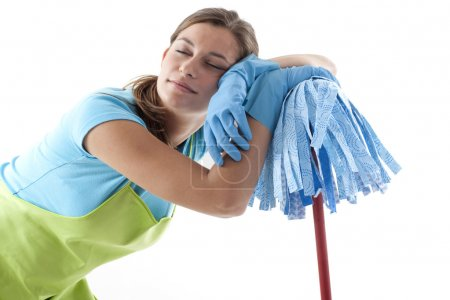 Tired Woman Doing the Cleaning