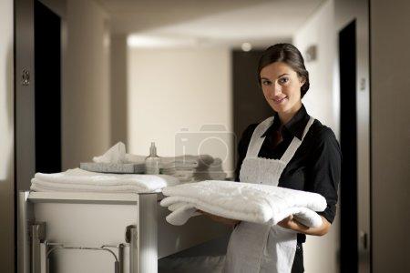 Photo pour Femme de ménage avec chariot de ménage - image libre de droit