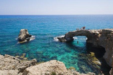 Rocky arch in the sea in Cyprus near Agia Napa
