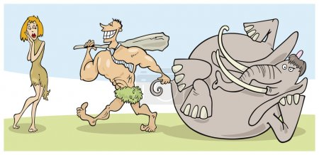 Illustration for Cartoon illustration of prehistoric couple - Royalty Free Image