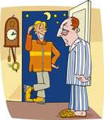 Cartoon illustration of guy visiting man in the middle of the night