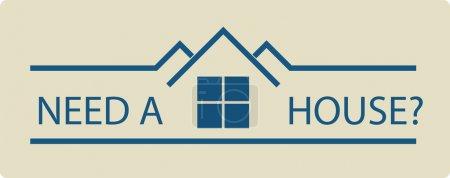 Illustration pour Besoin d'illustration vectorielle immobilier d'une maison et un texte demandant une maison? - image libre de droit