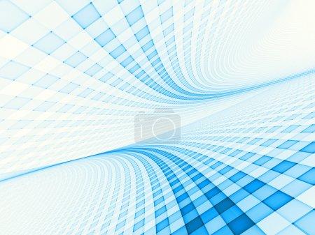 Grid landscape in light blue