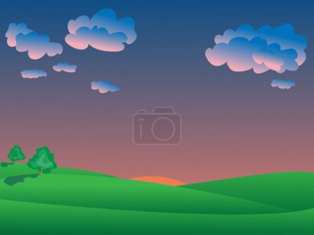Illustration for Vector evening landscape with two trees - Royalty Free Image