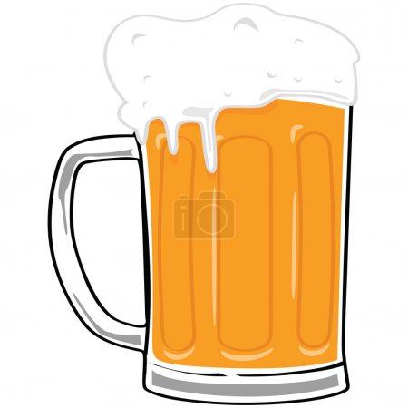 Illustration pour Illustration de bande dessinée d'une grande tasse de bière - image libre de droit