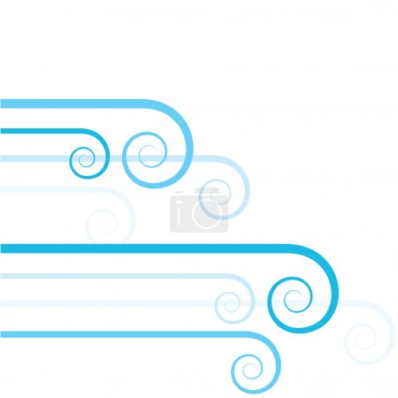Illustration pour Fond abstrait stylisé montrant des vagues de vent (ou d'eau) dans différentes nuances de bleu - image libre de droit