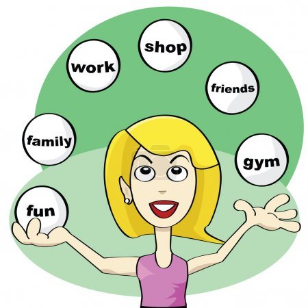 Illustration for Cartoon illustration showing a young woman juggling balls trying to achieve balance in modern life: fun, friends, work, shop, family, gym - Royalty Free Image