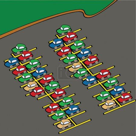 Illustration pour Illustration de dessins animés de différentes voitures de couleur sur un parking - image libre de droit