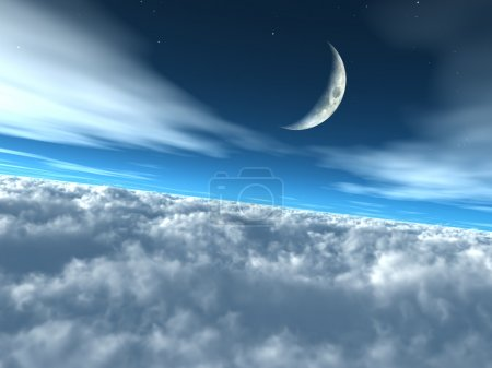 Photo for The moon above the clouds in a heavenly lunar sky. - Royalty Free Image