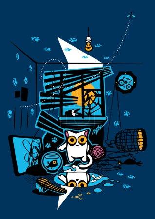 Illustration for Bandit Cat. Vandal, murderer and perjurer. Vector Illustration. - Royalty Free Image