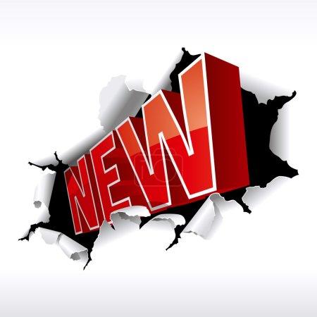"""NEW"""" inscription break through white background. Vector Illustr"""