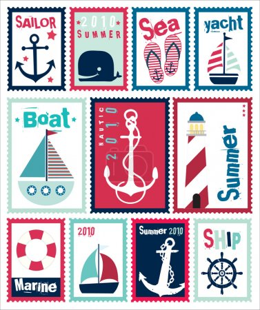 Marine Post Stamps Set