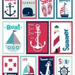Постер, плакат: Marine Post Stamps Set