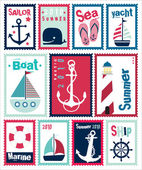 Marine Post Stamps Set