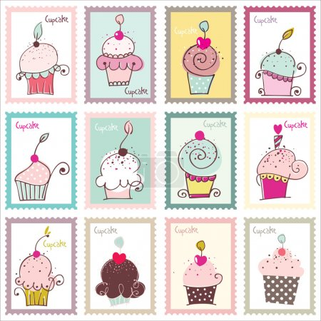 Cupcake Post Stamp Design Set