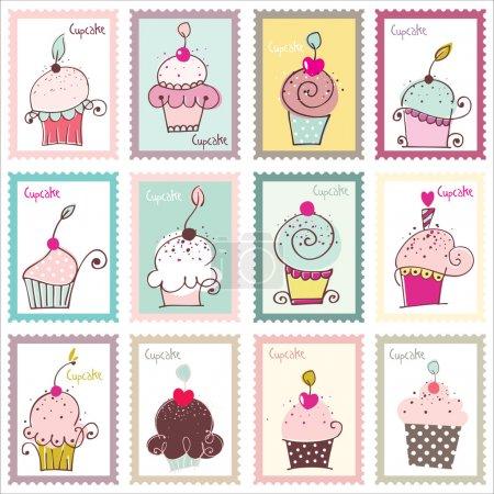 Photo pour Beaux timbres avec illustrations originales cupcake et belle combinaison de couleurs . - image libre de droit
