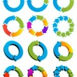 Set of Different arrow circles isolated on the whi...