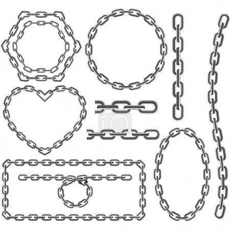 Illustration for Metal Chain frames isolated on the white - Royalty Free Image