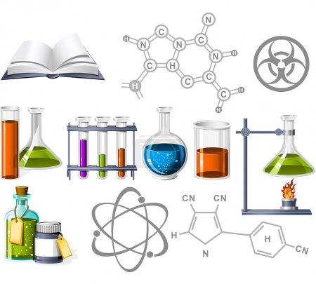Illustration pour Icônes Science et chimie - image libre de droit