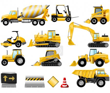 Illustration for Construction Machinery icons isolated on the white - Royalty Free Image