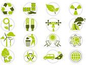 Energia-megtakarítás és a környezetvédelem ikon készlet