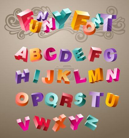 Illustration for Bright funny font design alphabet. in vector - Royalty Free Image